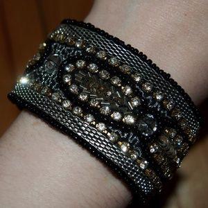 Black Rhinestone Cuff Bracelet